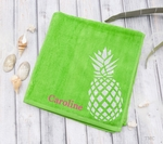 Monogrammed Pineapple Beach Towel - Lime Green