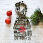 Monogrammed Plaid Scarf - Gray Black & Red