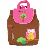 Monogrammed Quilted Backpack by Stephen Joseph - Owl Backpack Personalized Free!