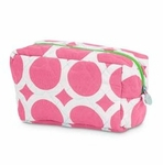 Monogrammed Quilted Cosmetic Bag - Large Dots Pink