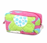 Monogrammed Quilted Cosmetic Bag - Pink Bloomalicious