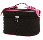 Monogrammed Quilted Cosmetic Case - Black & Hot Pink