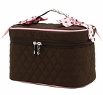 Monogrammed Quilted Cosmetic Case - Brown & Pink