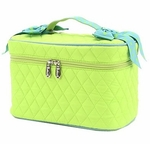 Monogrammed Quilted Cosmetic Case - Lime & Turquoise