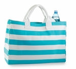 Monogrammed Tote Bag Aqua Stripes - Personalized Free!!