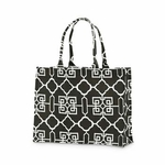 Monogrammed Tote Bag - Black & White Lattice