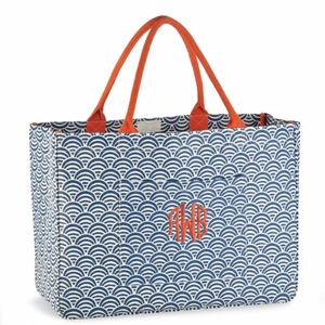 Monogrammed Tote Bag - Navy Umbrella Day Tripper