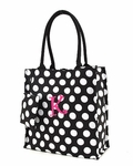 Monogrammed Tote Bag - Cute Black & White Polka Dots