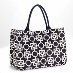 Monogrammed Tote Bag - Day Tripper Black & Brown Letta