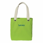 Monogrammed Tote Bag - Easy Tote - Lime Green