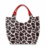 Monogrammed Tote Bag - Giraffe Print & Red Trim - HUGE Bag!