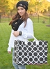 Monogrammed Tote Bag Large Black & White Rings - Personalized Free!