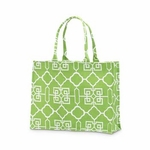 Monogrammed Tote Bag - Lime & White Lattice
