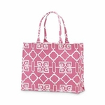 Monogrammed Tote Bag - Pink & White Lattice
