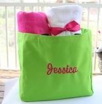 Monogrammed Tote Bag - Preppy Lime Green