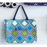 Monogrammed Tote Bag Retro Geometric Pattern