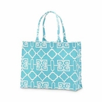Monogrammed Tote Bag - Turquoise & White Lattice