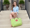 Monogrammed Tote Bag With Faux Leather Handles - Apple Green
