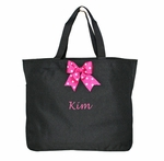 Monogrammed Tote Bag with Ribbon Bow