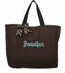 Monogrammed Tote Bag With Ribbon Bow - Brown
