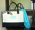 Monogrammed Two Tone Large Canvas Tote Bag