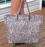 Monogrammed Zebra Print Jute Tote Bag - Personalized Free! BEST SELLER