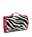 Personalized Hanging Cosmetic & Toiletry Bag - Black & White Zebra Print