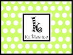 Personalized Note Cards - Lime & Black With Cute Monogram