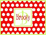 Personalized Note Cards - Red & Lime Mini Dots