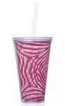 Pink Zebra 24oz Double Wall Tumbler With Straw - Personalized Free!