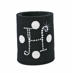 Rhinestone Monogram Coolies - Black Polka Dot