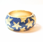 Starfish Enamel Bangle Bracelet - 80% Off