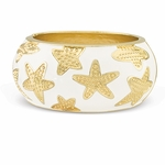 Starfish Enamel Bangle Bracelet in White