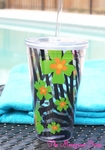 Zebra and Lime Blooms 24oz Double Wall Tumbler With Straw - Personalized Free!