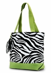 Zebra Print Monogrammed Tote Bag - Lime Green Trim
