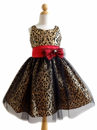 Champagne Accented Leopard Patterned Dress