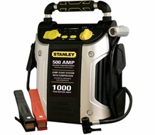 STANLEY  J5C09  CORDLESS 12 VOLT 500 AMP 1000 PEAK BATTERY AMPS JUMP STARTER WITH 120 PSI AIR COMPRESSOR, USB PORT AND 12 VOLT POWER OUTLET
