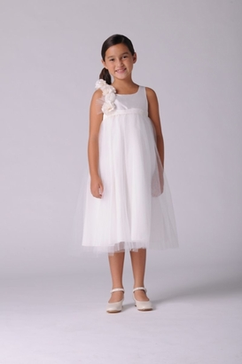 Us Angels Flowergirl Dress GARDENIA