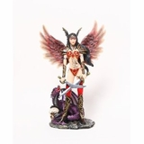 "Asian Warrior Fairy With Purple Dragon Statue 11.5""H, new"