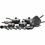 Mainstays 18-Piece Non-Stick Cookware Pots and Pans Set, Black, new