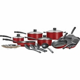 Mainstays 18-Piece Nonstick Cookware Pots and Pans Set, Red, new