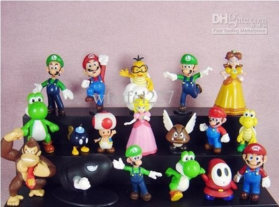 Super Mario Bros Figures dolls toys Model Toy Gifts (18 pcs/set ) 3-7 cm each (Toys,new)
