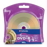 Verbatim 96943 4.7 GB up to 16x LightScribe Gold Recordable Disc DVD+R - 10 Disc Blister, new