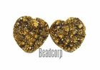 20mm Gold Heart Druzy Cabochon