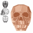 5750 Swarovski Skull Beads - Crystal Rose Gold 2X - 13mm
