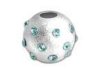 Sterling Silver Satin Birthstone Beads (Aqua)