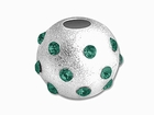 Sterling Silver Satin Birthstone Beads (Emerald)