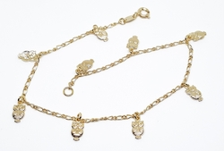1-0005-f10 18kt Brazilian Gold Filled Owl charms Anklet. 9.5""