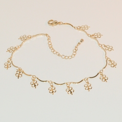 """1-0006-e7 Gold Plated Charms Anklet. Clovers. 9""""-10"""" adjustable."""