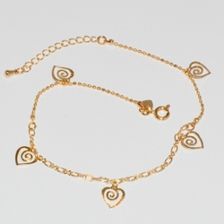 1-0011-D1 Heart Charms Anklet